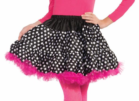 Girl's Polka Dot Skirt Crinoline Tutu Child Black White Pink Costume Accessory