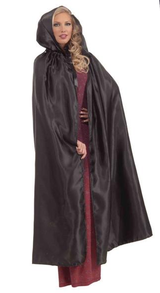 Fancy Masquerade Black Cape Satin Hooded Cloak Robe Adult Costume Accessory New