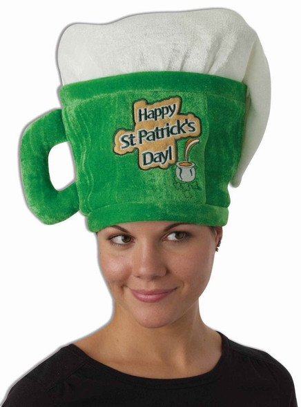 Green St. Patricks Day Drinking Beer Mug Hat Costume Accessory Adult Men Women's