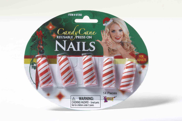 Candy Cane Peel Press on Nails Striped Red White Reusable Elf Costume Accessory