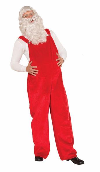Santa Claus Overalls Costume Red Plush Fur Adult Std Christmas Costume Accessory