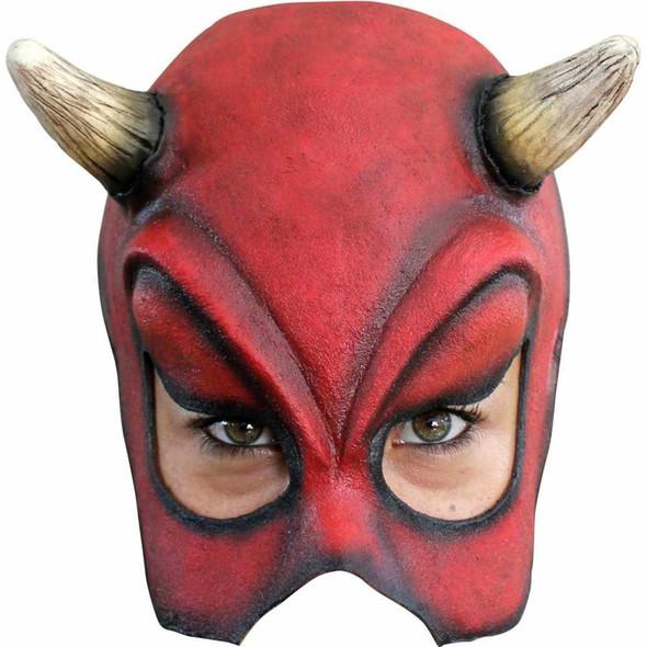 Sexy Devil Latex Half Mask Satan Red Halloween Costume Accessory Lucipher Horns