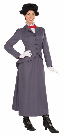 English Nanny Women Costume Fancy Grey Dress Victorian Mary Poppins Style XL