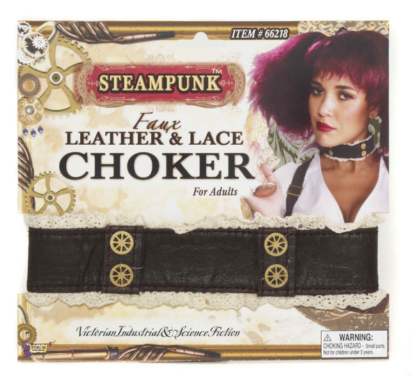 Steampunk Faux Leather Lace Choker Adult Costume Accessory Belt Buckle Lace