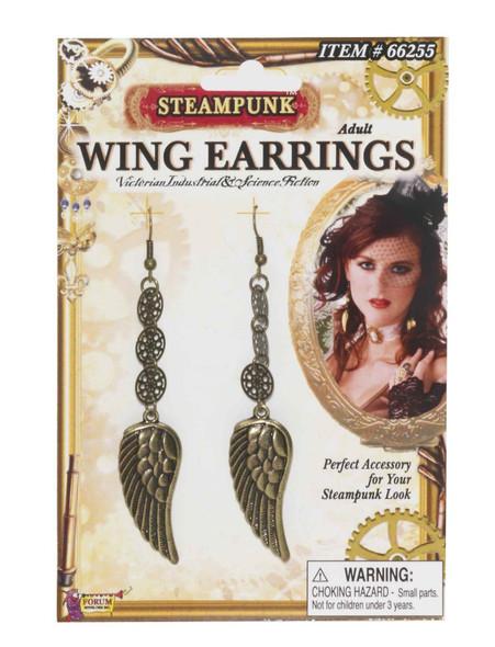 Steampunk Victorian Industrial Wing Earrings Gear Adult Costume Accessory Pierce