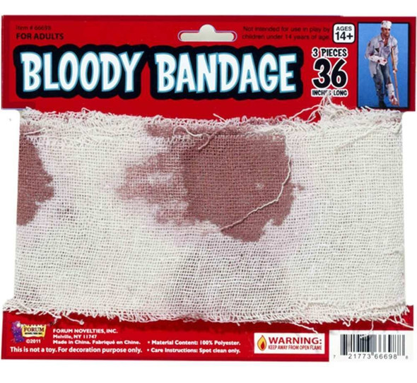 Bloody Bandage 15' Long Costume Accessory Prop Gauze Look Halloween Decoration