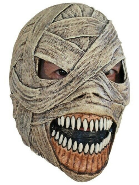 Deluxe Evil Mummy Adult Latex Mask Fangs Egypt Halloween Costume Prop Gauze Wrap