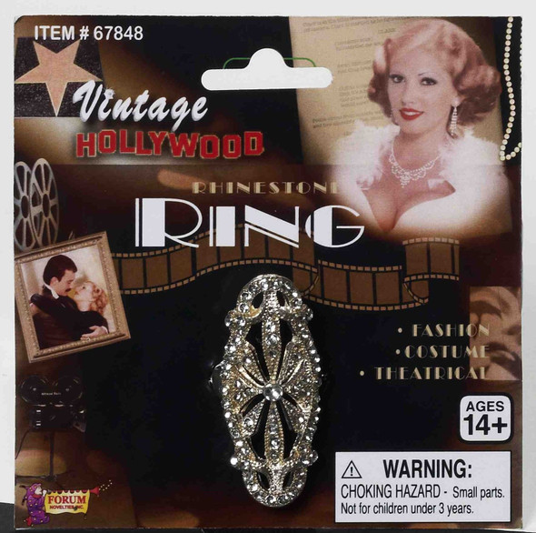 Vintage Hollywood Rhinestone Ring Costume Accessory Adult Theatrical Fashion New