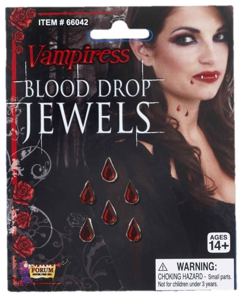Blood Drops Jewels Vampiress Stick on Red Gems Stone Halloween Costume Accessory