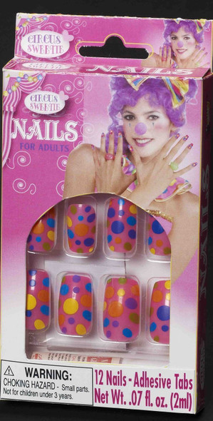12 Circus Sweetie Pink Polka Dots Fake Press on Nails Clown Costume Accessory