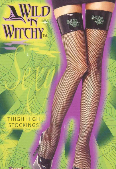 Wild'n Witchy Witch Thigh Highs Black Fishnet Stockings Spiderweb Womens Hosiery