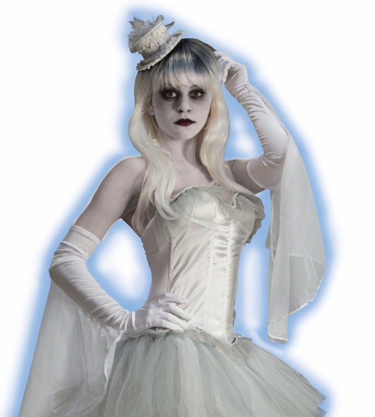 Ghostly Spirits Long White Satiny Flutter Elbow Gloves Adult Halloween Costume