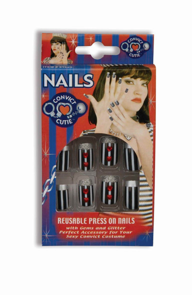 14 Convict Cutie Fancy Nails Black White Press on Halloween Costume Accessory