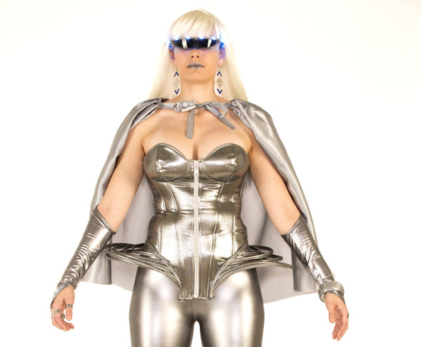 Futuristic Silver Corset Outer Space Lady Gaga Disco Women's Costume Accessory