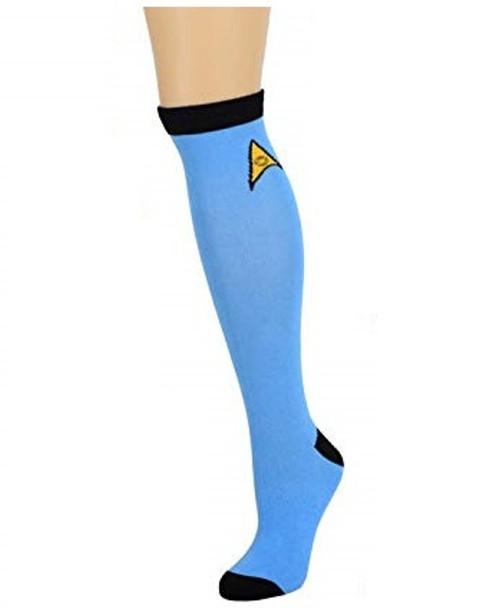 Star Trek Blue Knee High Socks Spock Adult Mens Womens One Size 9-11