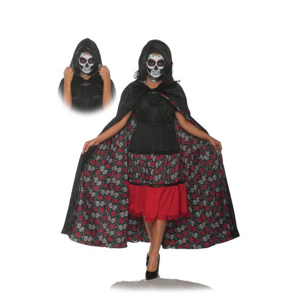 Dia De Los Muertos Velvet Day Of The Dead Black Reversible Hooded Cape Adult