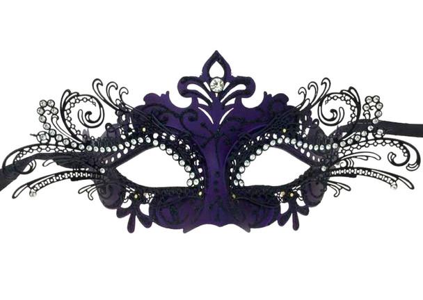 Black Purple Laser Cut Half Mask Clear Crystals Glitter Costume Accessory Adult