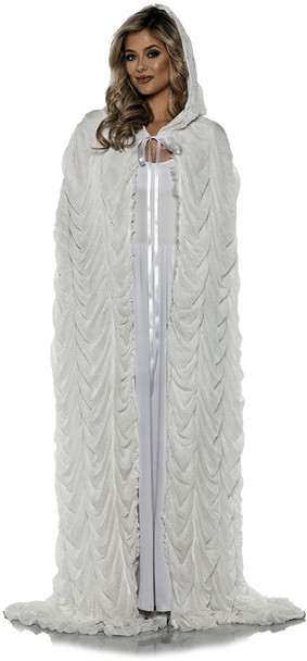 White Coffin Pleated Hooded Costume Cape Adult Halloween Christmas Caroller