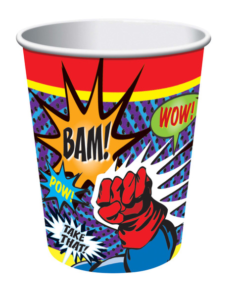 Superhero Comic Beverage Paper Drink Cups Birthday Party Decor Tableware 8pc/pk