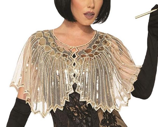 Roaring 20's Gold Sequin Shawl Beige Evening Cape Shrug Adult Costume Accessory