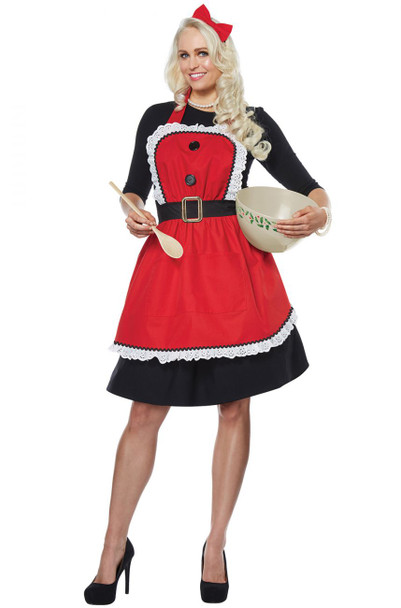 Classy Mrs. Claus Red Kitchen Cooking Apron Adult Christmas Holiday Baking Gift