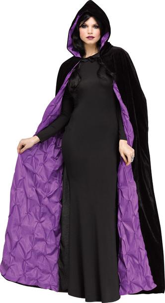 "68"" Velvet Hooded Coffin Cape Purple Taffeta Lining Adult Halloween Accessory"
