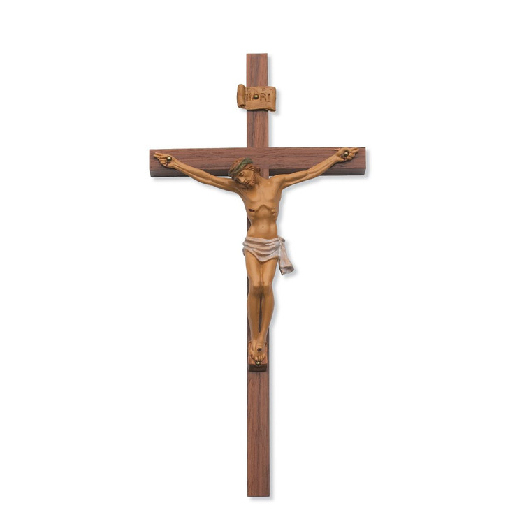 10 in. Walnut Stain with Italian Resin Crucifix - Gift Boxed