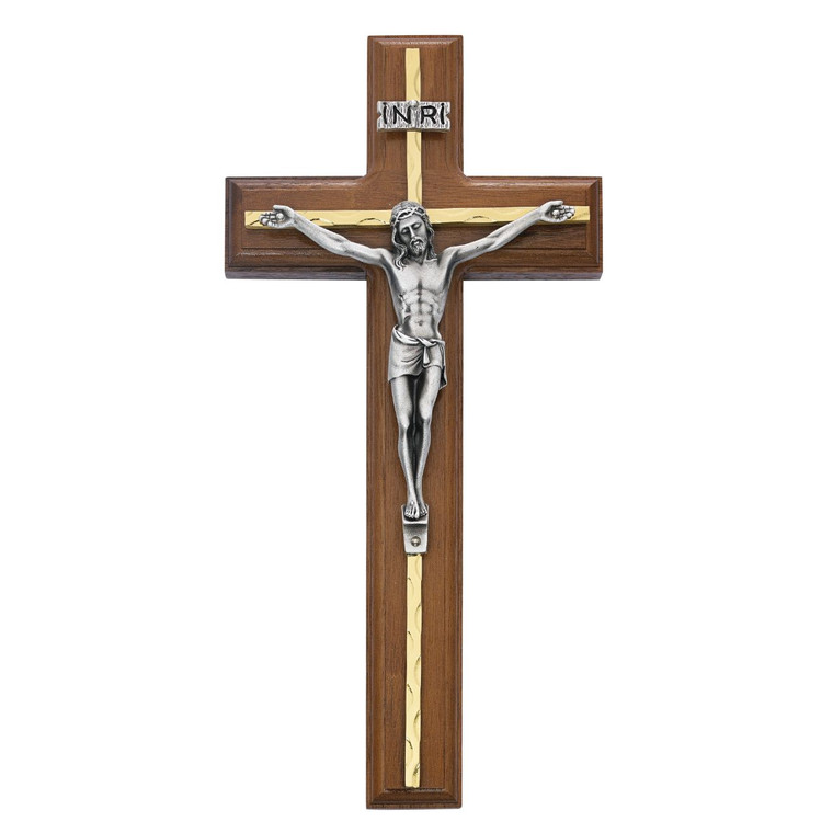 10 in. Walnut Stain Crucifix with Brass Overlay/Silver Corpus - Gift Boxed