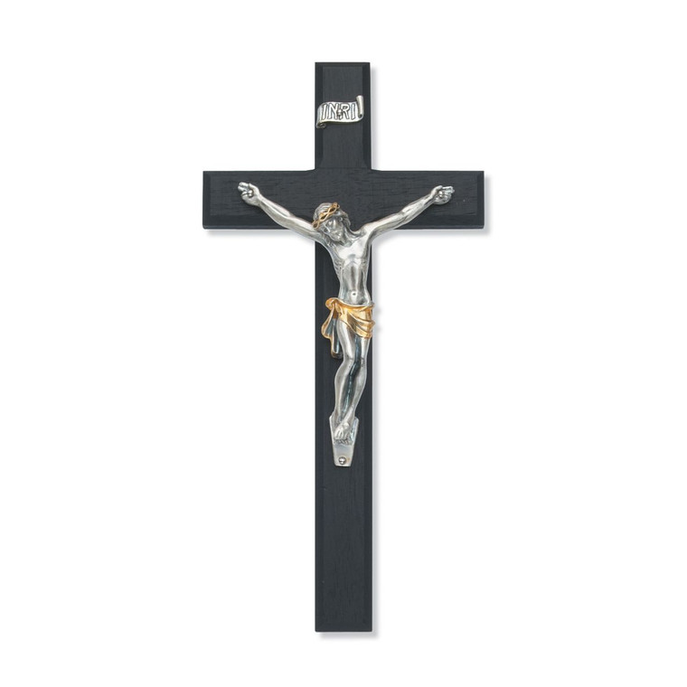 10 in. Black Crucifix with Two Tone Italian Corpus - Gift Boxed