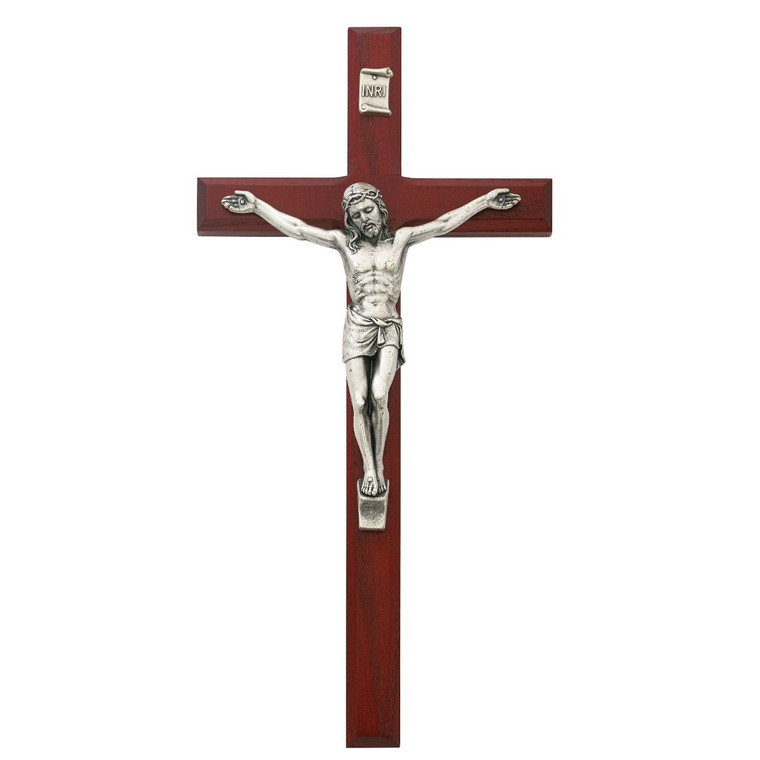 10 in. Beveled Cherry Crucifix - Gift Boxed