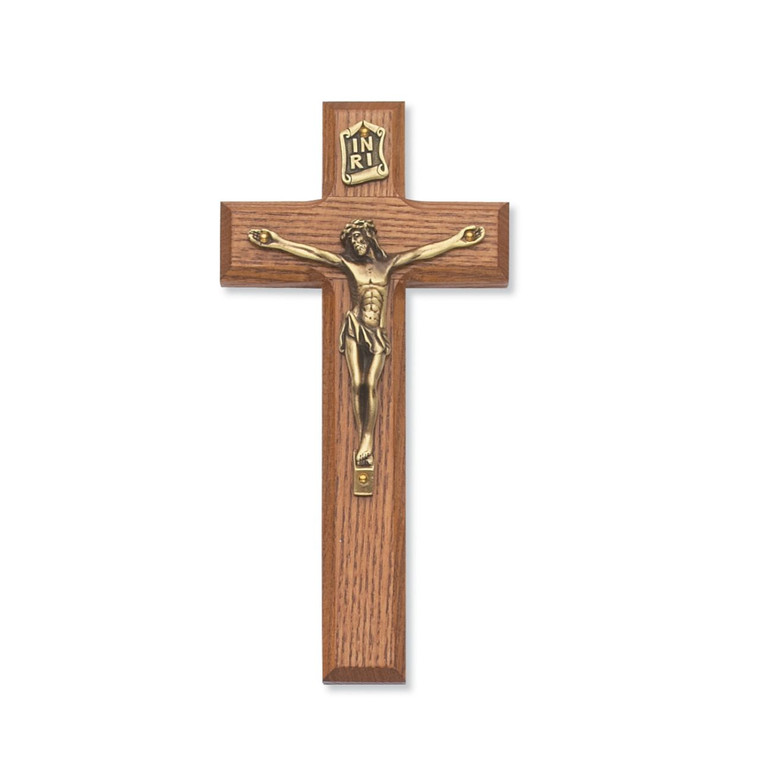 7 in. Walnut Stain Crucifix - Gift Boxed