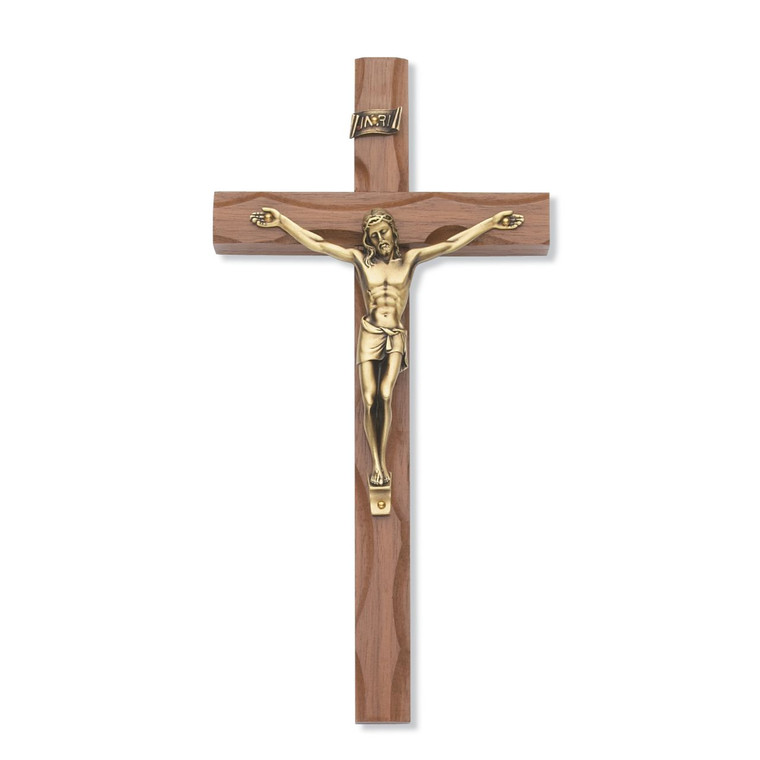 10 in. Carved Walnut Stain Crucifix with Gold Corpus - Gift Boxed