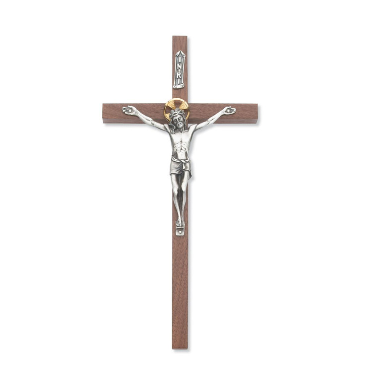 10 in. Thin Walnut Stain Crucifix with Two Tone Corpus - Gift Boxed