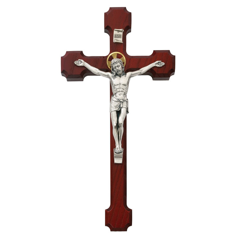 10 in. Thin Cherry Crucifix with Two Tone Corpus - Gift Boxed