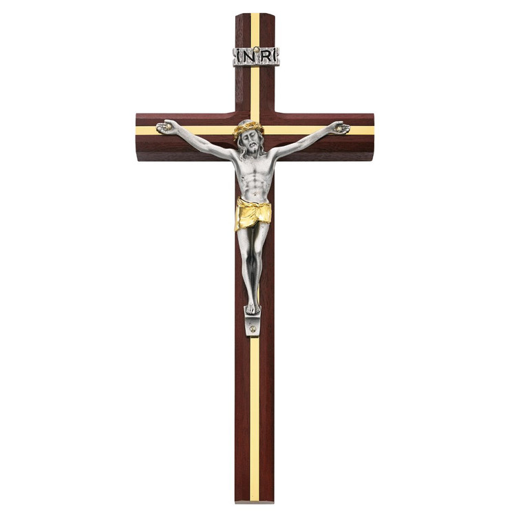10 in. Cherry Crucifix with Gold Inlay - Gift Boxed