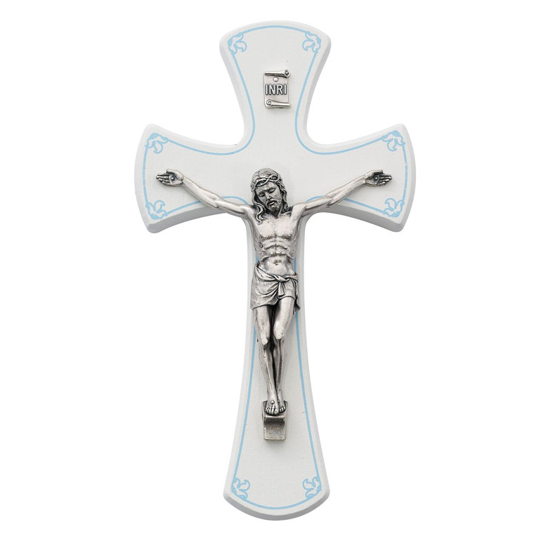 7 in. White/Blue Crucifix - Gift Boxed