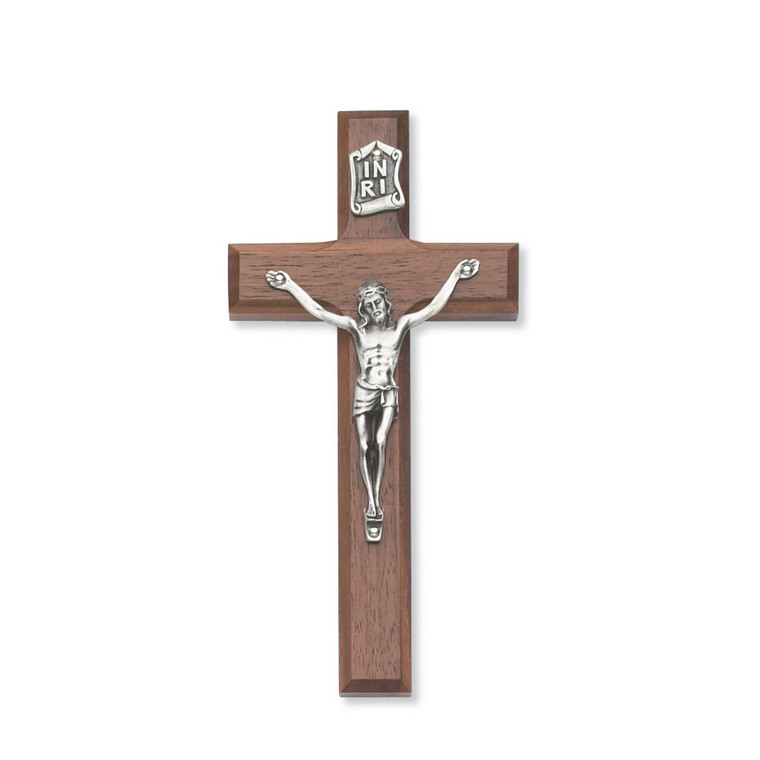 6 in. Walnut Stain Crucifix - Gift Boxed