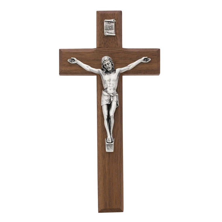 8 in. Beveled Walnut Stain Crucifix - Gift Boxed