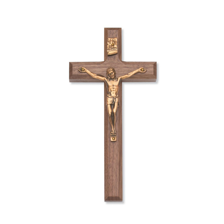 8 in. Beveled Walnut Stain Crucifix with Gold Corpus - Gift Boxed