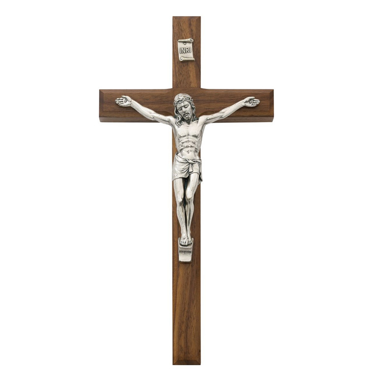 10 in. Walnut Stain Inlay Crucifix - Gift Boxed
