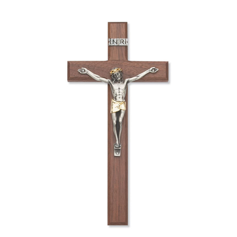 10 in. Walnut Stain Crucifix with Two Tone Corpus - Gift Boxed