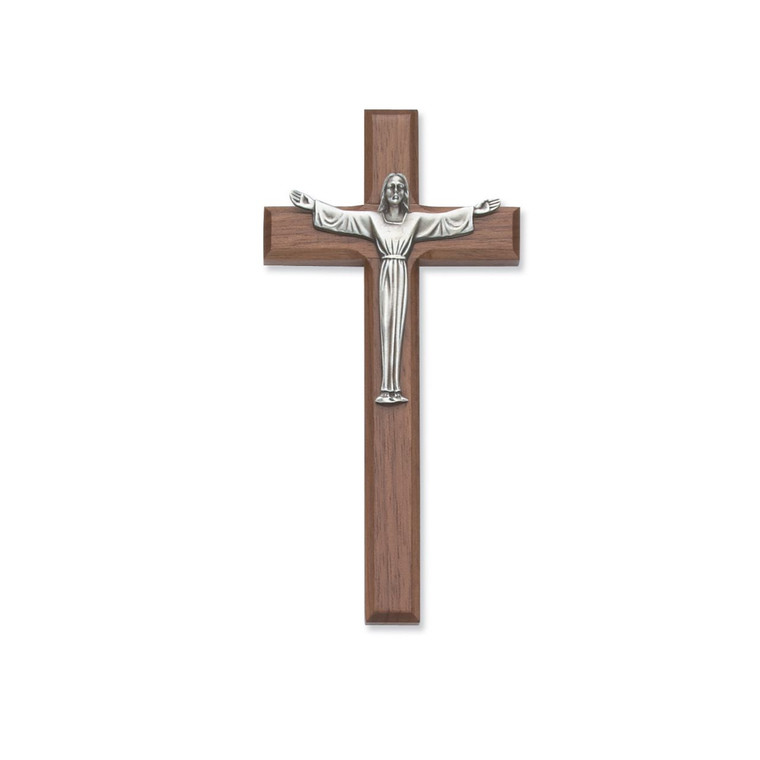 7 in. Walnut Stain Risen Crucifix - Gift Boxed