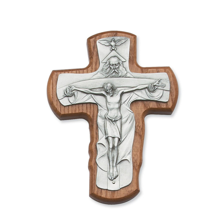 5 1/2 in. Walnut Stained Trinity Crucifix - Gift Boxed