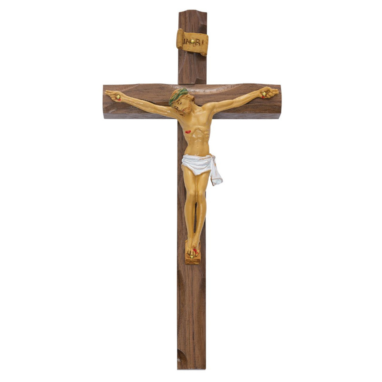 10 in. Walnut Stain Crucifix with Resin Corpus - Gift Boxed