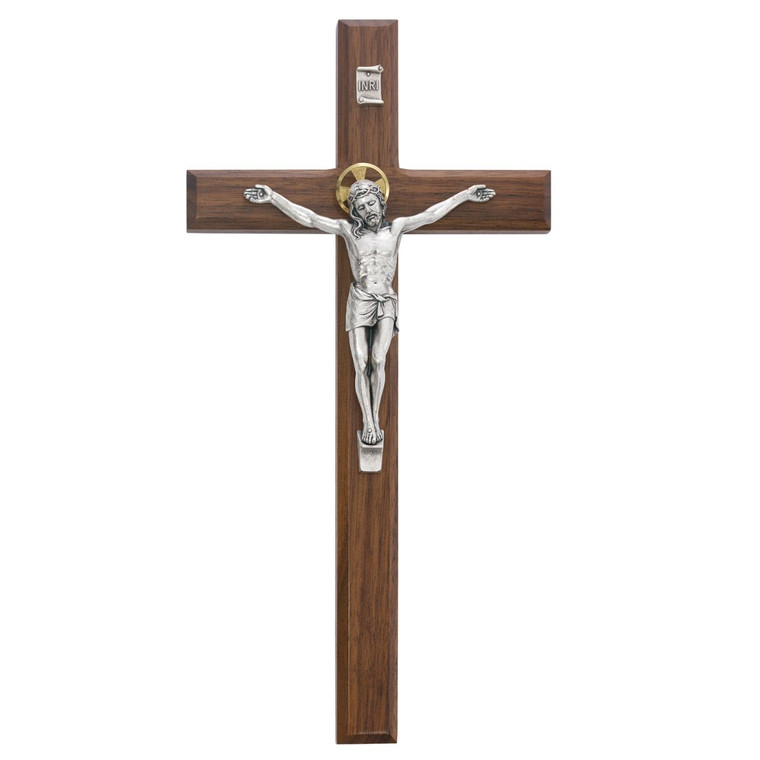 12 in. Walnut Stain Crucifix - Gift Boxed
