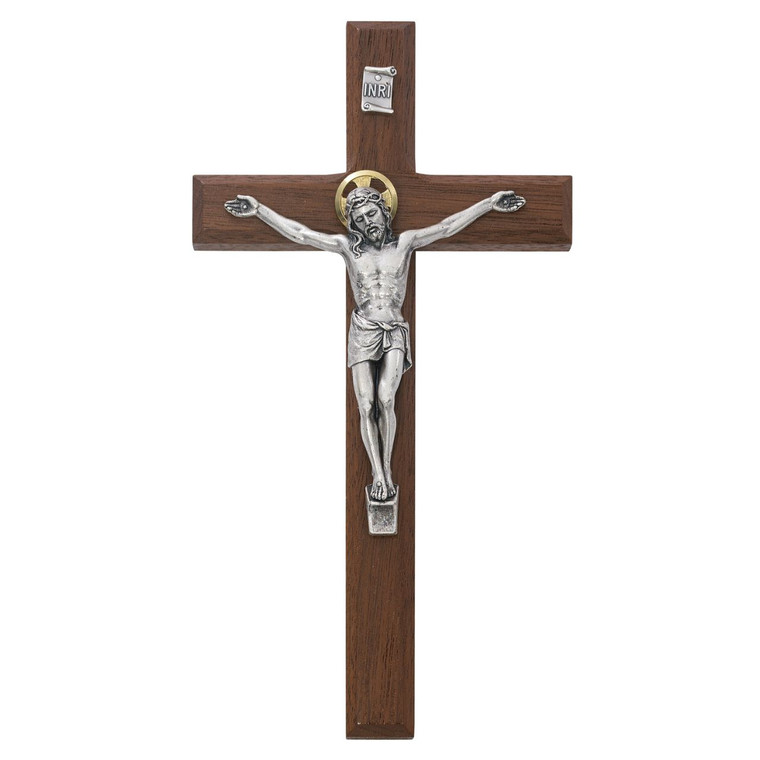 8 in. Thin Beveled Walnut Stain Crucifix - Gift Boxed