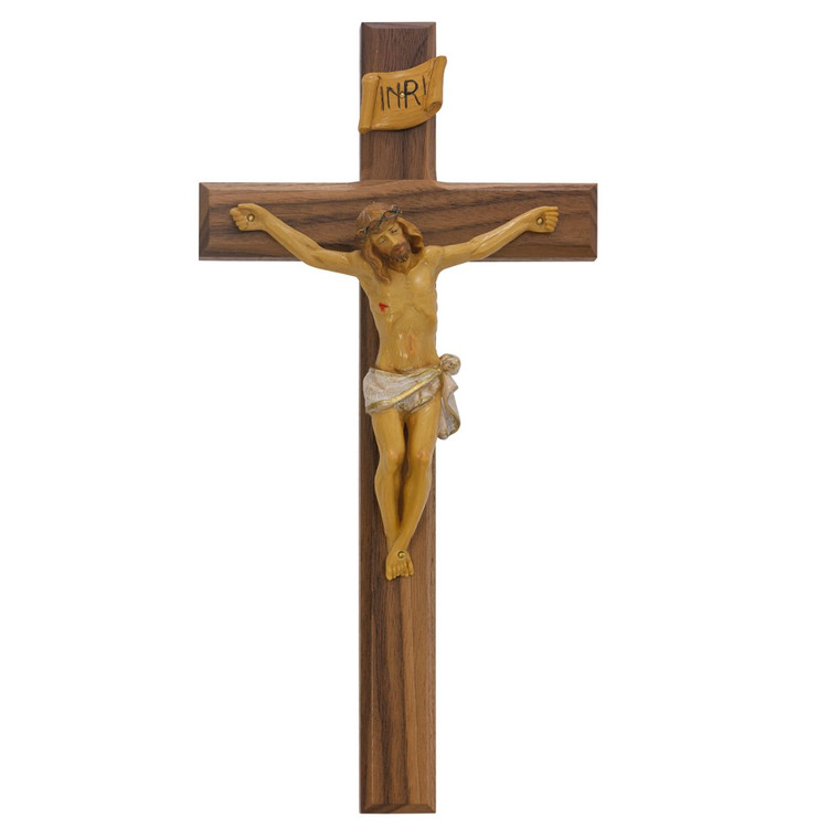 13 in. Walnut Stain Crucifix with Italian Corpus - Gift Boxed