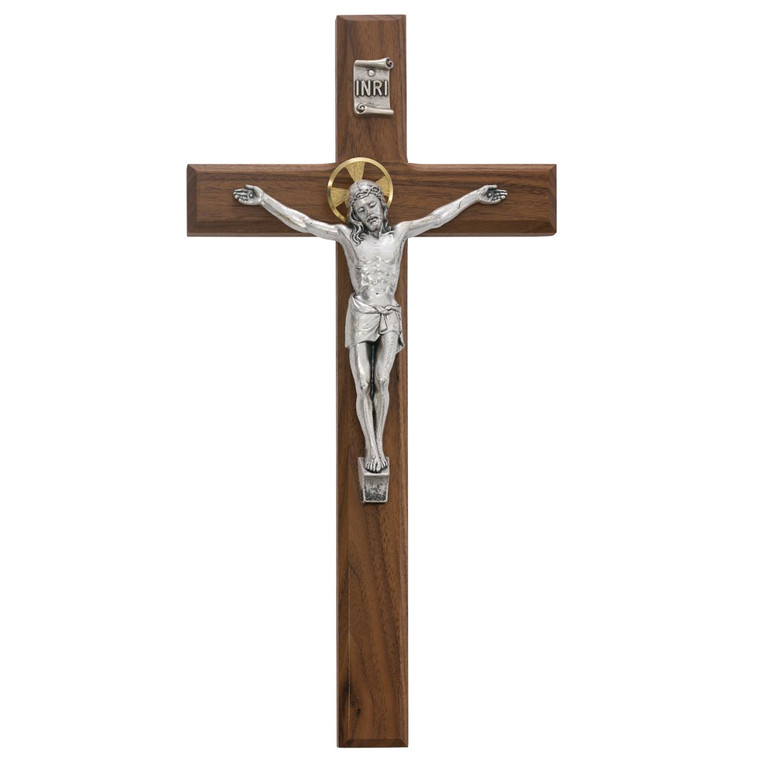 13 in. Walnut Stain Crucifix - Gift Boxed