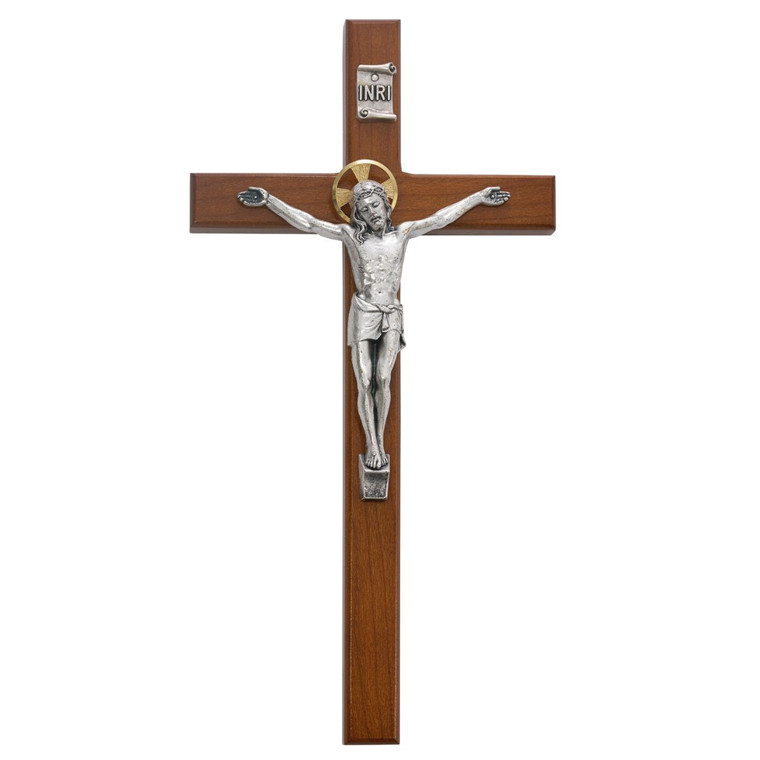 13 in. Cherry Wood Crucifix - Gift Boxed