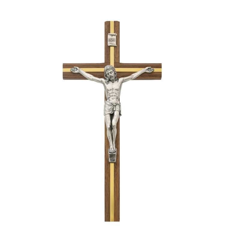 10 in. Walnut Stain Crucifix - Gift Boxed